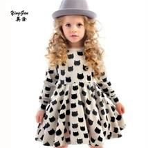 Girls black dress cartoon long sleeved black stamp elastic pleated Zou c... - $14.86+