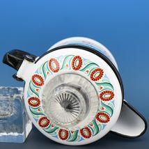 "Vintage Berggren Sweden Porcelain Enamelware Coffee Pot Percolator 6"" 2 Cup image 5"