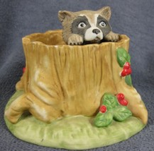 Raccoon Woodland Surprises Franklin Mint Hand Painted Porcelain Figurine 1984 - $14.95