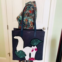 NWT Kate Spade Kitt embellished Cat Large NS tote in blazer blue, white kitty - $187.00