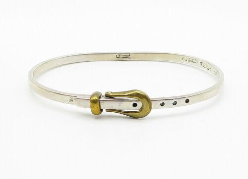 MEXICO 925 Silver - Vintage Two Tone Belt Buckle Bangle Bracelet - B6178