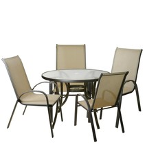Northlight 5-Piece Tan Outdoor Textilene Mesh and Steel Patio Dining Set - $449.20