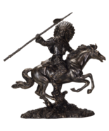 Pacific Giftware American Indian Warrior Riding Horse with Spear 13 inch... - $49.49