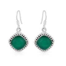 Green Onyx 925 Sterling Silver Handmade Cushion Shape Dangle Earrings fo... - $22.99