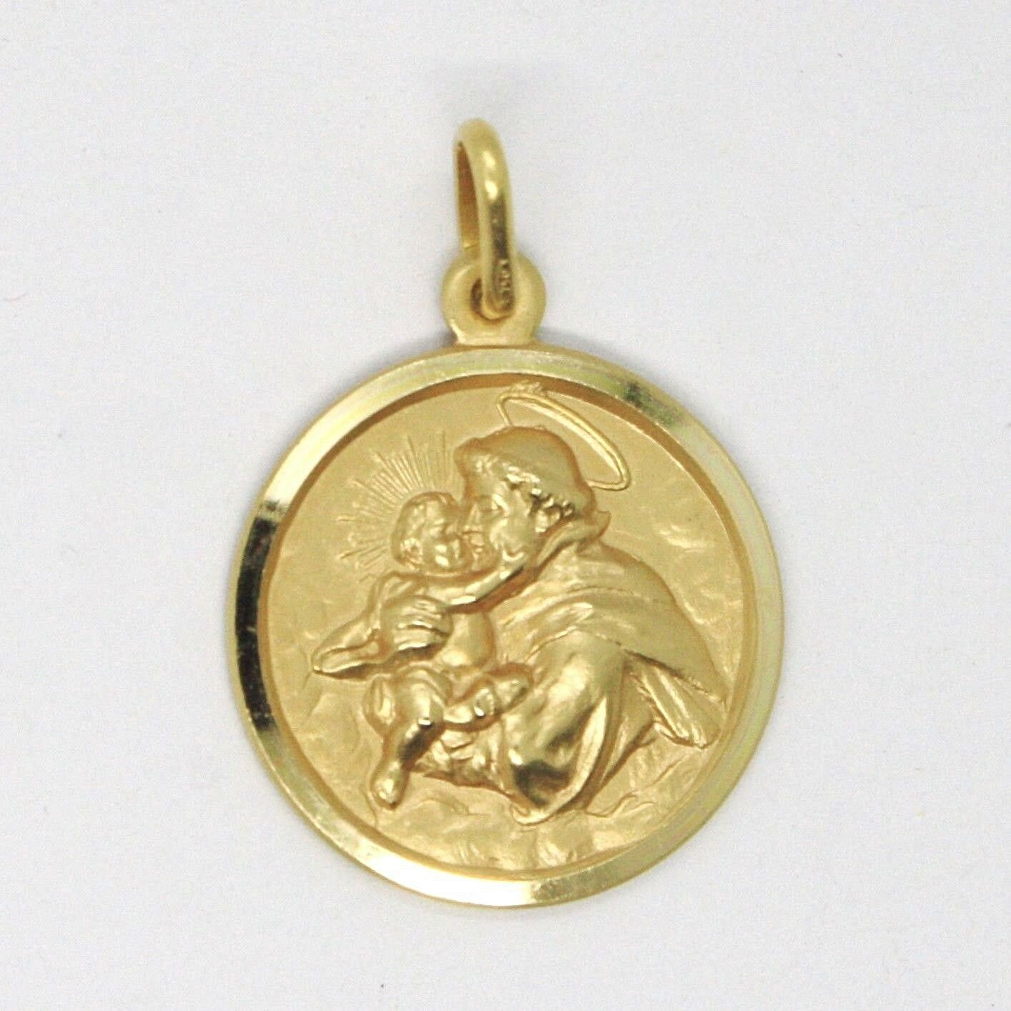 18K YELLOW GOLD ST SAINT ANTHONY PADUA SANT ANTONIO MEDAL MADE IN ITALY, 15 MM