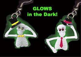 Funky GLOW DANCE SKELETON EARRINGS Steampunk Novelty Character Costume J... - $6.97