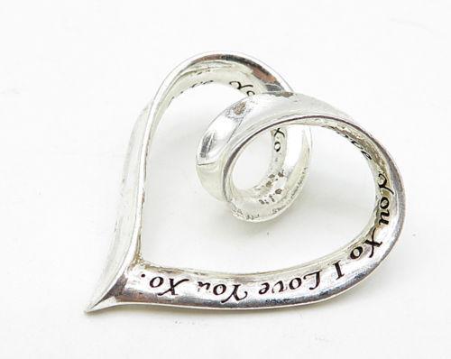 "LA 925 Sterling Silver - Vintage Love Heart ""I Love You XO"" Pendant - P3922"