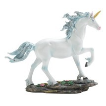 White Unicorn Figurine Blue Mane Fantasy Collec... - $18.78