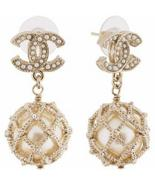 Authentic CHANEL 2019 CC Logo LARGE Pearl Drop Dangle Earrings Gold  - $499.99