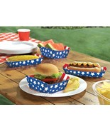 4th of July Stripes & Stars Disposable Paper Food Trays (16 Pack) Patriotic - $7.59