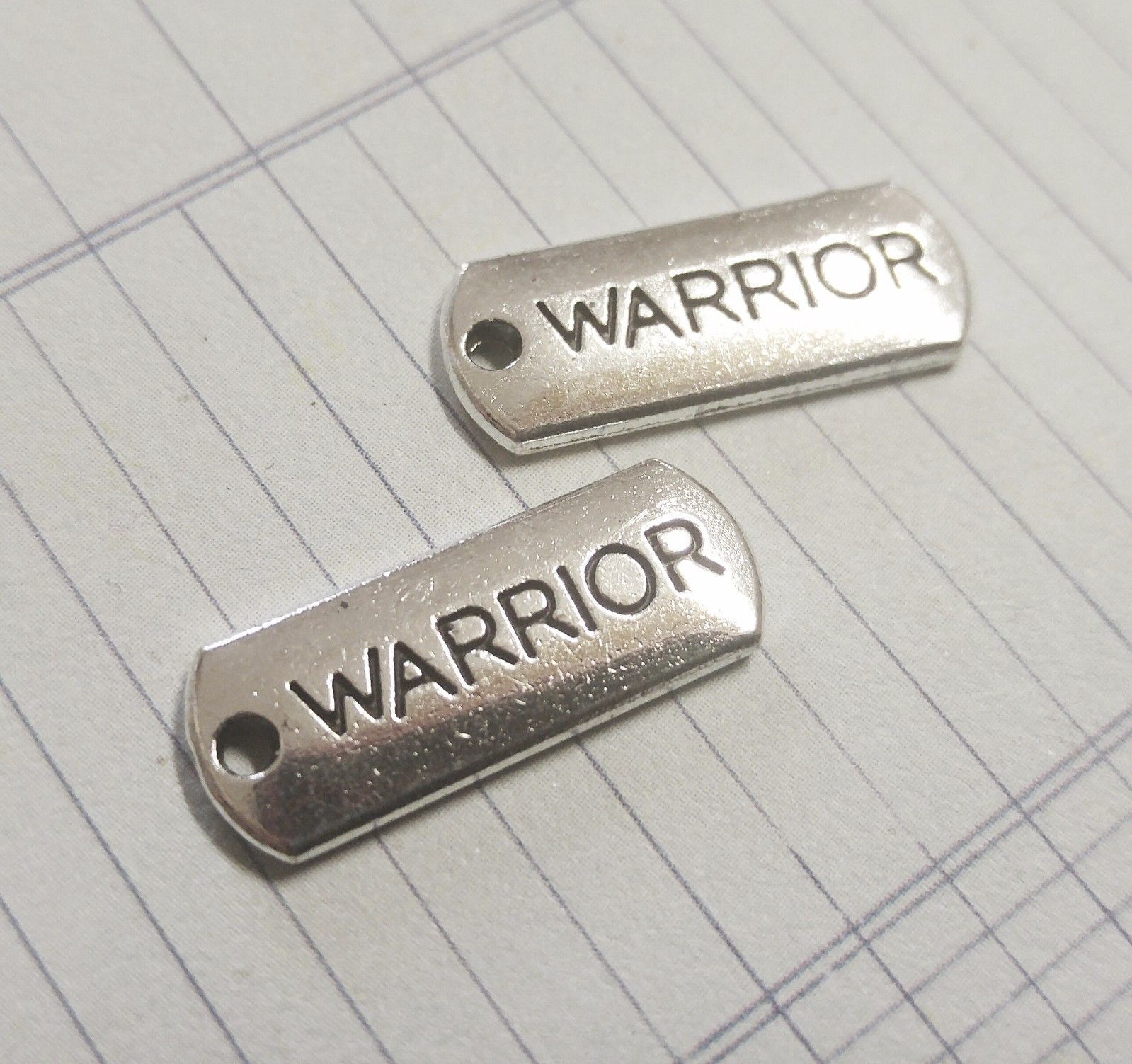 10 Word Charms WARRIOR Charms Pendants Inspirational Antiqued Silver Tag Charms  - $2.62
