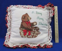 Handmade A Beary Merry Christmas Throw Pillow Decor Red Green w/ Teddy Bear - $12.22