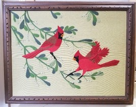 "Framed Needlepoint Needlework Red Birds Cardinals on Branches 28""x22"" EUC - $49.99"