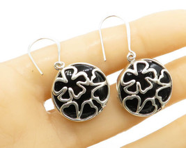 925 Sterling Silver - Floral Pattern Round Onyx Gemstone Drop Earrings - E1316 - £24.95 GBP
