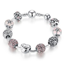 Antique Silver Charm Bracelet & Bangle with Love and Flower Crystal Ball... - $8.00