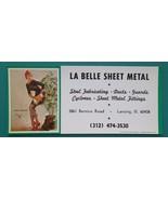 PIN-UP Girl Hoses Emergency & AD La Belle Sheet Metal - 1960s INK BLOTTER - $6.35