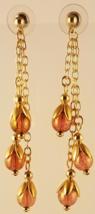 #02 Elegant Dangle Earrings Pink-Gold Drops on Chains. Unique, Handmade Danglero - $28.00