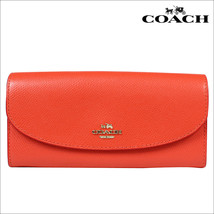 NWT Coach Watermelon Crossgrain Leather Slim Envelope Wallet Style F54009 - $166.25