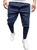"Suit Pants Men Casual Fashion Striped Men""s Suit Trousers with Small Fee... - $23.60"
