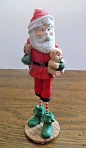 Pencil Tall Santa With Sack of Toys & Teddy by Magic Creations 1997 Figu... - $8.90