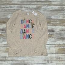 NWT Gap Kids Girls Beige Long Sleeve Top With DANCE & ballerina glitter ... - $11.88