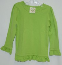 Blanks Boutique Long Sleeved Ruffle Shirt Color Lime Green Size 3T image 1