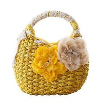 Fashion Vacation Item/Sweet Flower Straw Lace Hand Bag/ Beach Bag/ Yellow