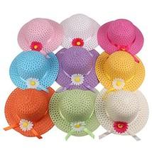 Girls Sunflower Straw Tea Party Hat Set 9 Pcs, Assorted Colors - $34.70