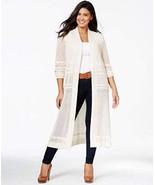 Belldini Womens Plus Pointelle Long Sleeves Cardigan Sweater Beige 1X - $30.83
