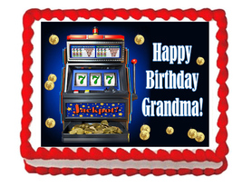 Slot Machine Edible Cake Image Cake Topper - $8.98