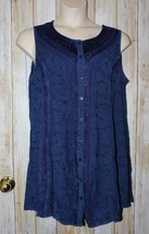 Womens Pretty Blue Embroidered Flower Sleeveless Shirt Size Plus Size 1X... - $14.84