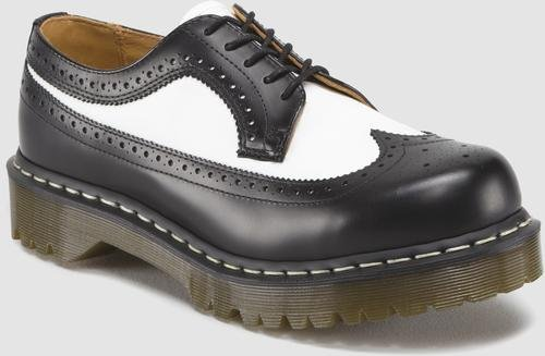 Dr. Martens Men's/Women's 3989 Brogue Oxford,Black/White Smooth,5 UK (US Men's 6