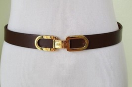 Lauren Ralph Lauren chocolate brown leather elastic waist belt  L - $22.27