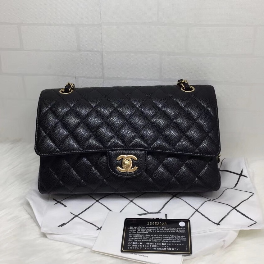 100% AUTH NEW 2019 Chanel BLACK QUILTED CAVIAR MEDIUM DOUBLE FLAP BAG GHW