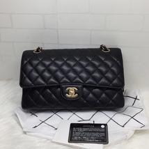 100% AUTH NEW 2019 Chanel BLACK QUILTED CAVIAR MEDIUM DOUBLE FLAP BAG GHW image 1