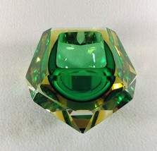 Flavio Poli Green & Amber Faceted Sommerso Murano Glass Bowl, Italy 1950s - $490.05