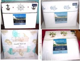 Nautical Sheet Sets: Palm Trees, Seashells, Ships Wheel & Anchor, etc. - $34.19+