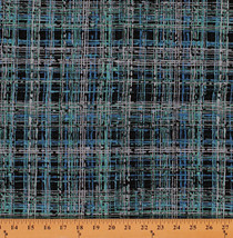 Cotton Blue Turquoise and Navy Plaid Cotton Fabric Print by Yard D690.47 - $10.95