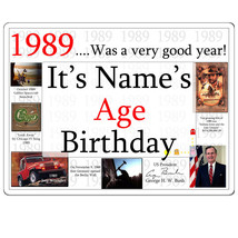 "Happy 30th Birthday (Age 30) FACTS FROM ""1989"" PERSONALIZED DOOR POSTER ... - $19.99"