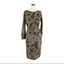 Cool brown black abstract AN ARKAY long sleeve sheath dress S - $25.00