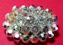 VINTAGE CRYSTAL BEADED RHINESTONE BROOCH PIN - $40.00