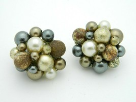 Japan Gold Gray Acrylic Bead Beaded Clip-On Earrings Vintage Gold Tone - $13.86