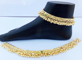 ANKLET BRACELET 22k GOLD PLATED PAYAL SET BOLLYWOOD Fashion INDIAN JEWEL... - $19.47