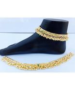 ANKLET BRACELET 22k GOLD PLATED PAYAL SET BOLLYWOOD Fashion INDIAN JEWEL... - $19.47
