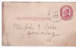 MOUNT JACKSON, VA OCTOBER 3 1913 ON RED 1c McKINLEY POSTAL CARD - $2.68