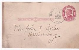 MOUNT JACKSON, VA OCTOBER 3 1913 ON RED 1c McKINLEY POSTAL CARD - $2.68