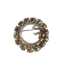 Vintage Rhinestone Wreath Bow Large Bling Brooch Pin Costume RL164 - $24.74