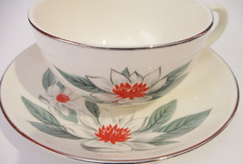 Rhythm by Homer Laughlin Red Green White Holiday Teacup & Saucer USA L55... - $29.99