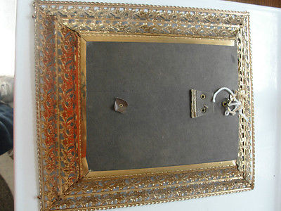 JESUS ON THE CROSS,WALL HANGING FRAMED PICTURE,METAL ORNATE RELIGiOUS FRAME ,OLD