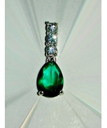 Pendant Teal and Clear Diamond Cut  - $15.00